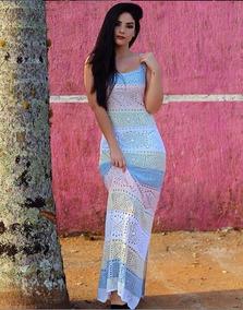 Vestido Saída De Praia Longo Listrado Trico Festa
