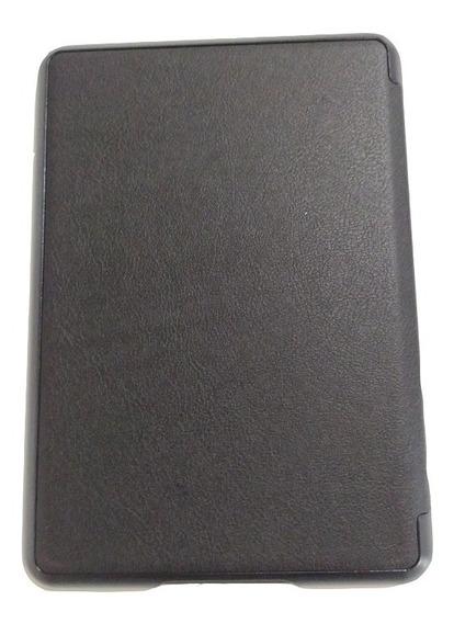 Capa Preta Luxo Couro Novo Kindle Paperwhite + Película