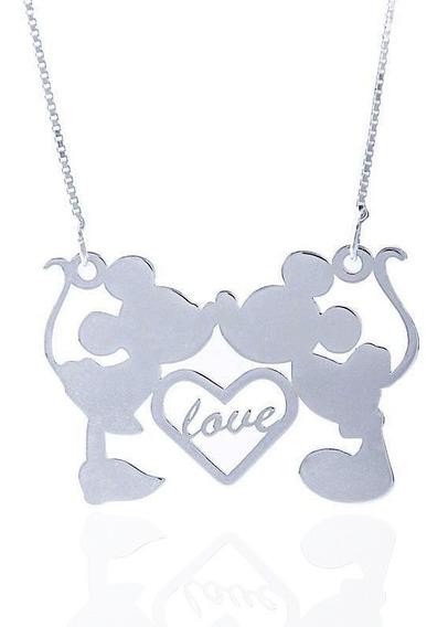 Colar Com Pingente De Mickey E Minnie Love Em Prata 925