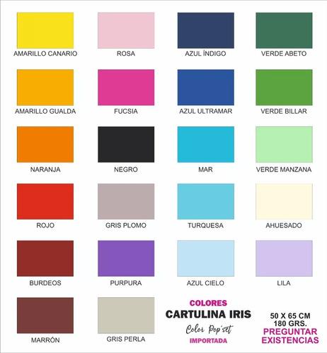 Imagen 1 de 8 de Cartulina Iris 180gr Pliego 50x65 Tarjetas Manualidades 50pz