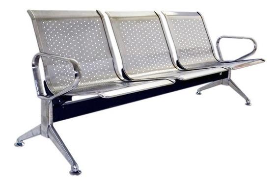 Banco Cadeira Longarina Sala De Espera Inox Com 3 Lugares