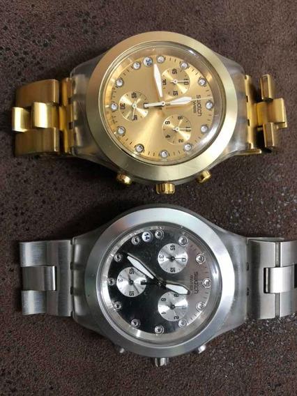 Relógio Swatch Swiss Com Cristais Gold & Silver Usado