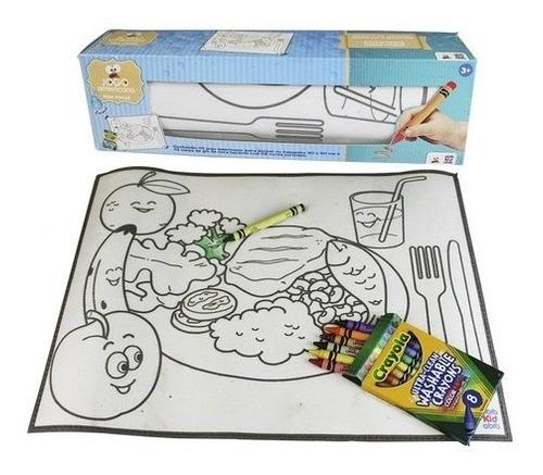 Tapetinho P/ Colorir Desenho Pintar Giz Cera 8 Cores Pintura