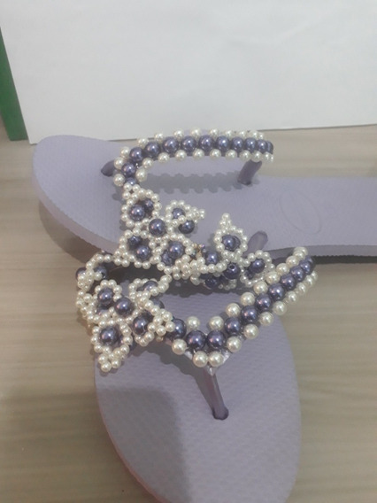 Sandalia Personaliza/customizada Em Lilás E Branco