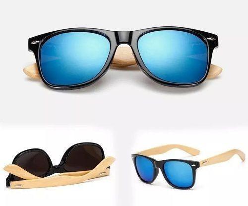 Óculos Unissex Madeira Bambu Sol Polarizado Uv400 Quadrado