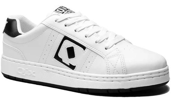 Tênis Qix Skate Combat Retro Branco Preto Original Masculino