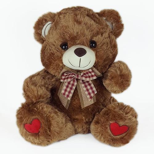 Urso De Pelúcia 35cm Marrom Coração
