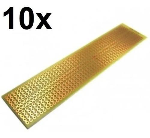 10x Placa Fenolite Ilhada 2,8x12,9 Cm Pcb Perfurada Padrão