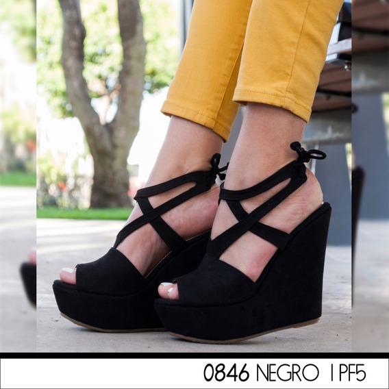 Zapatillas Plataforma Corrida Negro Correas A La Moda0846