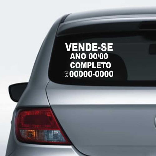 Imagem 1 de 10 de Adesivo De Vende-se Carro 30x21 Aplicar No Vidro Do Carro