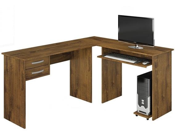 Mesa Para Computador Em L Triunfo Rovere Com 2 Gavetas