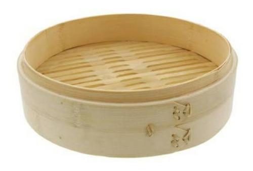 Vaporera De Bambú 27cm Diam Navidad Regalo Tapa Hogar Cocina