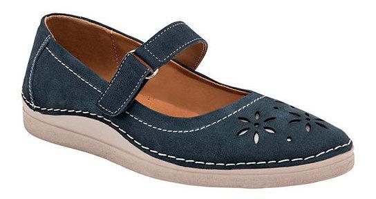 Zapato Piso Dama Zoe Azul Piel Flor Correa C77319 Udt