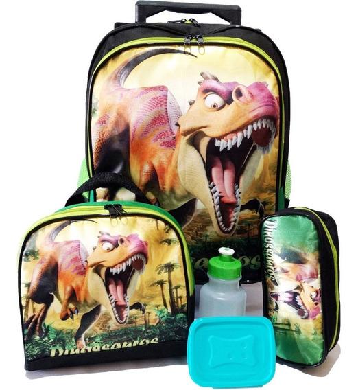 Kit Mochila Infantil Dinossauro Rex Com Lancheira E Estojo