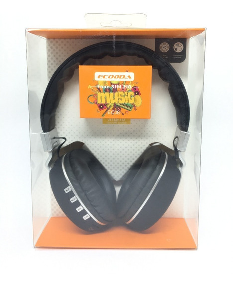 Kit Com 2 Fone S/ Fio Headphone C/ Bluetooth Ecooda Ec38