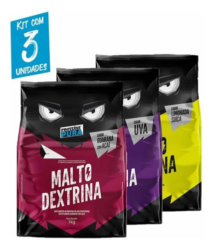 Imagem 1 de 5 de Kit 3x Malto Dextrina - 1kg - 3 Sabores
