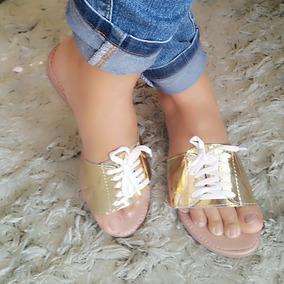 Sandália Rasteirinha Dourada Dona Sofis 38