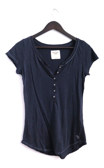 Remera Mujer Azul Abercrombie Algodon Talle S/m