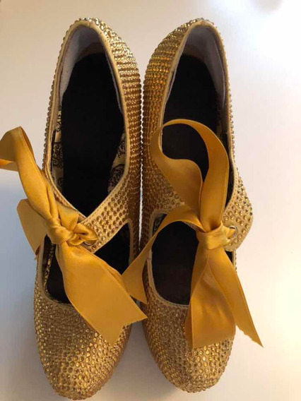 Stilletos Oro Brillo Traídos De Usa 36 Eq 35.5 O 35 + Plant