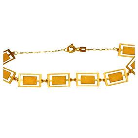 Pulseira Feminina Ouro 18k Chapas Retangulares + Frete 0863