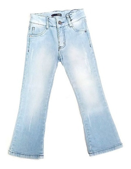 Calça Jeans Menina Infantil Casual Delavê Slim Flare Lutz