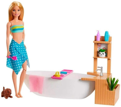 Boneca Barbie Banho De Espumas E Acessórios Mattel Original