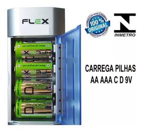Kit Carregador Fx-c06 + 4 Pilhas Grande D Rec 2900mah