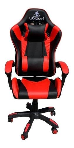 Imagen 1 de 1 de Silla de escritorio Libitium Gamer gamer ergonómica  negra y roja con tapizado de cuero sintético