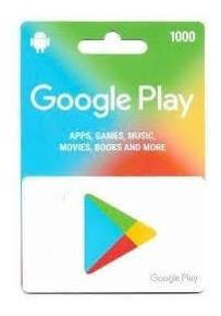 Imagen 1 de 1 de Tarjetas De Google Play De $1000