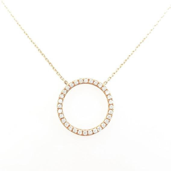 Colgante Circulo En Oro Rosa 18k Diamantes Talla Brillante
