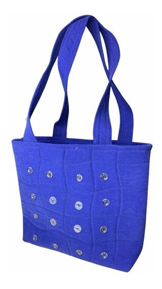 Bolsa Feminina Azul De Alça Com Botão - Tecido Reutilizável