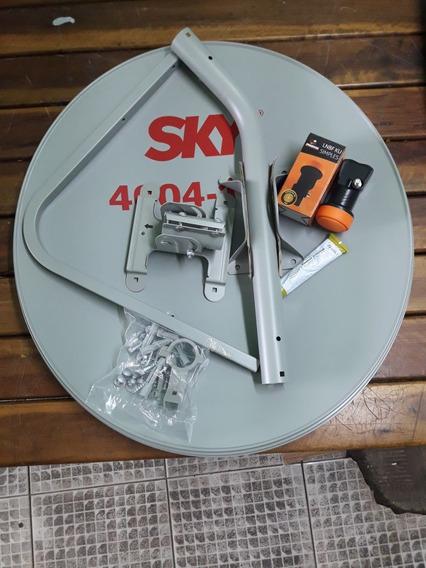 Antena Ku 60 + Lnb Simples Kit 02 + 40 Mts Cabo Rg59
