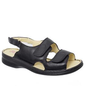 Sandália Feminina Em Couro Preta 295m Doctor Shoes