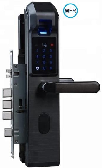 Fechadura Biométrica Digital 4 Trancas Pintura Aço Escovado