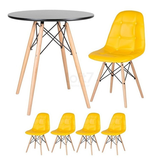Kit Mesa Jantar Eames 70 Cm 4 Cadeiras Botone Estofada Cores
