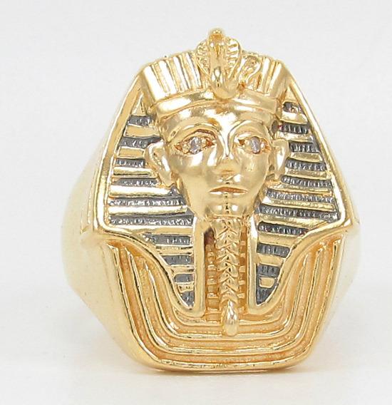 Esfinge Jóias- Anel Egito Tutankamon Diamante Aro18 Ouro 18k