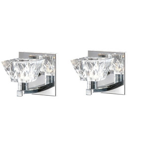 2 Arandela Cristal Transparente Espelho Inox Corredor Alz5