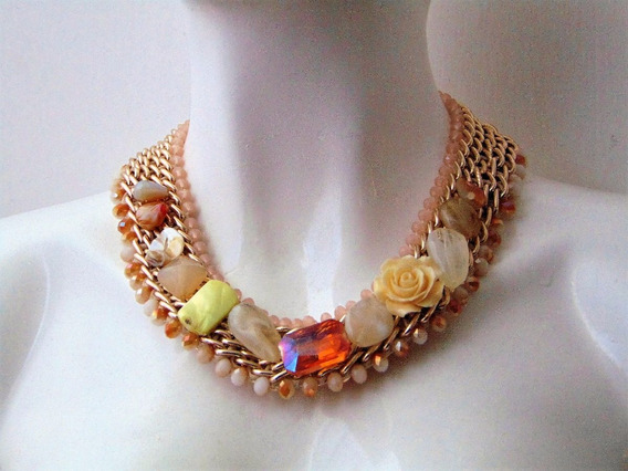Macys Collar Flores Tejido Bisuteria Fina Nude Rosa Coral