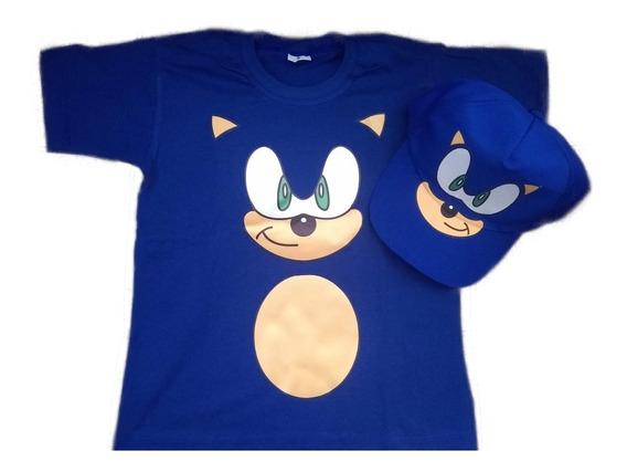 Fantasia Camiseta Sonic Infantil E Boné Personalizado Sonic