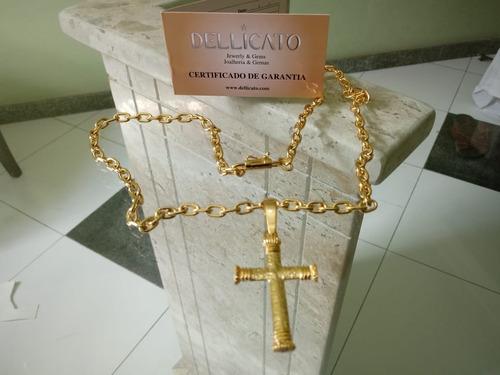Corrente Cartier + Pingente De Moeda C/ Banho Ouro Dellicato