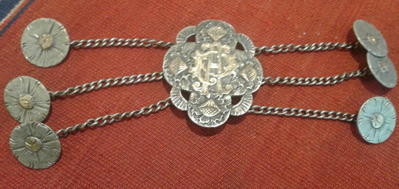 Antigua Criolla Rastra Plata Oro Cuño 800 75 Gr 18 Cm Largo