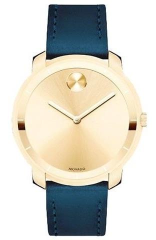 Relógio Movado Masculino Com Pulseira De Couro Azul