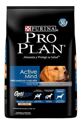 Alimento Pro Plan OptiAge Active Mind 7+ para perro senior de raza mediana/grande sabor pollo/arroz en bolsa de 7.5kg