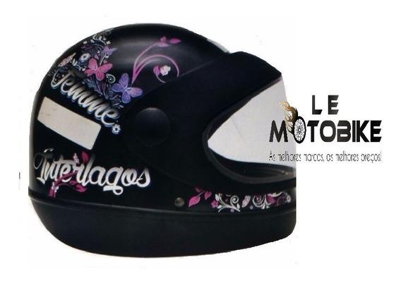 Capacete Interlagos Moto Femme Preto Tam 56 Gow