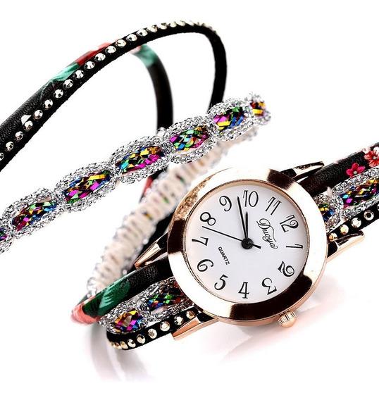 Relógio Bracelete Feminino Pulseira Couro Cristal Flores