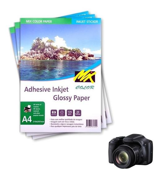 Papel Fotográfico Adesivo A4 135g Glossy 200 Folhas Mixcolor