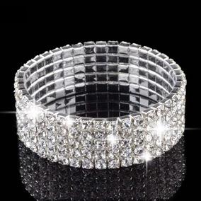 Pulseira Bracelete Prata Com Strass Noiva Debutante Luxo