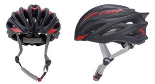Capacete De Ciclismo Tsw Speed Team Preto Vermelho - Tam. M