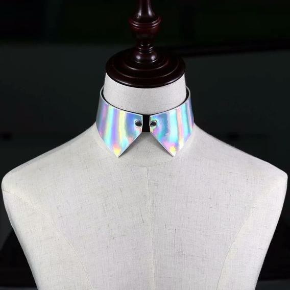Choker Collar Holo Plata Harajuku Kawaii Moda Asiática