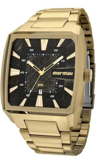 Relógio Quadrado Dourado Mormaii Masculino Mo2315am/3p